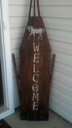My welcome sign with a Antique ironing board Antique Ironing Boards, Wood Ironing Boards, Iron Board, Decorating Ideas, Decor Ideas, Craft Ideas, Homemaking, Barn Wood, Wood Signs