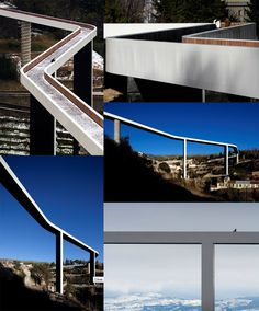 Ribeira da Carpinteira Bridge - Covilhã, Portugal  A beautiful pedestrian bridge in Portugal's city of Covilhã, JLCG Arquitectos's wood-lined structure spans a distance of about 721 feet, providing a dramatic walk worth slowing down for.