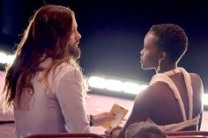 Lupita Nyong'o enjoyed a quiet moment with her fellow 2014 Supporting Actor Oscar winner Jared Leto 2015 Oscars