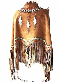 This is a very beautiful handmade and hand painted Indian Nation Feather Shield deer suede leather shawl. One size fits all. A great shawl to fend off the evening chill! Cowgirl Mode, Cowgirl Chic, Cowgirl Style, Cowgirl Fashion, Gypsy Cowgirl, Native American Clothing, Native American Fashion, American Jewelry, Cherokee Clothing