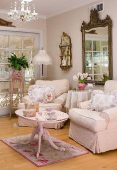 Shabby Chic..overstuffed chairs and soft neutrals