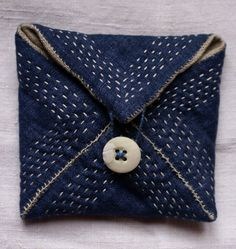 pouch/purse/wallet in blue linen and antique katazome by lesamovar