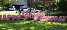 Happy 7th Birthday, Ellie! Happy 7th Birthday, Boy Birthday, Birthday Yard Signs, Lawn Sign, Host A Party, Make Your Mark, Special Day, Boy Or Girl, Cards