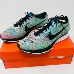 hot sale online 354d6 2099a Nike Shoes   Nike Flyknit Racer Multicolor   Color  Green Pink   Size   Various