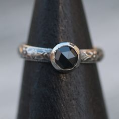 Elegant Rose Cut Black Spinel Ring in Sterling by PureDichotomy, $48.00