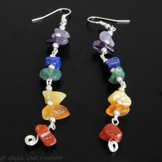 Spectrum Earrings - Silver Plated and with a Rainbow of Gemstones £7.50
