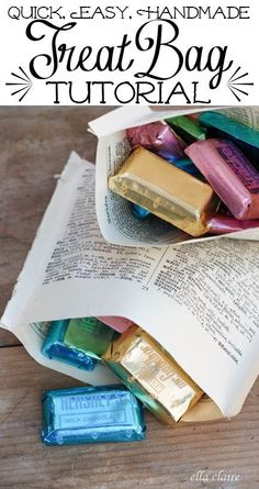 {Ella Claire}: Book Page Treat Bags Tutorial... these are amazing!!!