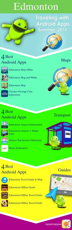 Edmonton Android apps: Travel Guides, Maps, Transportation, Biking, Museums, Parking, Sport and apps for Students.