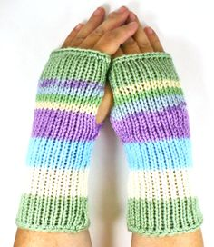 Knit Fingerless Mittens Knit Hand Warmers Knit by Nothingbutstring, $25.00