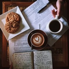 Love the composition, lighting, and mood of this photo. (However, my mind is also envisioning the splatters of coffee that will most assuredly end up on those documents and papers eventually.)