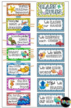 Also included in this resource are class rule posters. Preschool Classroom Rules, Classroom Charts, Classroom Behavior, Classroom Design, Classroom Themes, Kindergarten Rules, Preschool Behavior, Classroom Community, Class Management