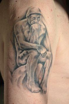 My dad's tattoo:  The Thinker, artwork by Jamie Fischer @ Eldasa Tattoos, Dordrecht