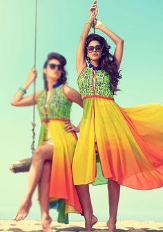 multicolor front open slit kurti