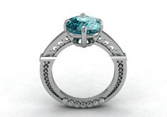Modern Vintage Victorian Style 14k White Gold Engagement by VOLISA, $1100.00