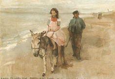 Isaac ISRAELS -Promenade à âne à Scheveningen