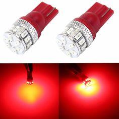 2x CANBUS Error FREE T10 Super Red Car LED Lights Bulbs 194 168 175 W5W 2825 192 #JDMASTARaftermarketT10bulb3thbright5050SMD
