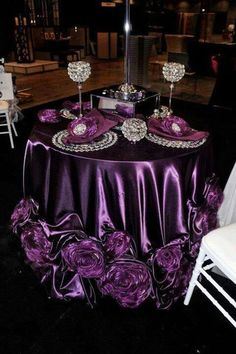 Purple roses from Event Decor Direct. Love this! faint More The post Purple roses from Event Decor Direct. Love this! faint appeared first on Decoration. Purple Wedding, Trendy Wedding, Wedding Colors, Wedding Flowers, Bling Wedding, Wedding Table Linens, Wedding Table Decorations, Wedding Centerpieces, Table Wedding