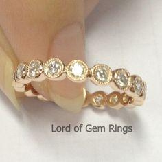 Brilliant Diamond Wedding Band Eternity Anniversary Ring 14K Rose Gold Milgrain Bezel Set - Lord of Gem Rings - 1