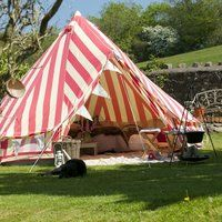 Bell Tent - Make camping a more glamorous experience with the Strawberries and Cream Bell Tent. The tent is a red and white-striped shelter that is easy to a. Glam Camping, Camping Glamping, Luxury Camping, Camping Gear, Outdoor Camping, Outdoor Gear, Camping Nice, Outdoor Spaces, Outdoor Living