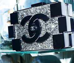 Chanel brick clutch. Black. Rhinestone.
