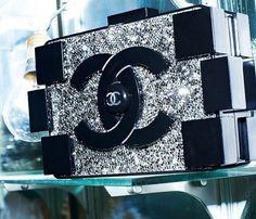 Chanel brick clutch. Black. Rhinestone.
