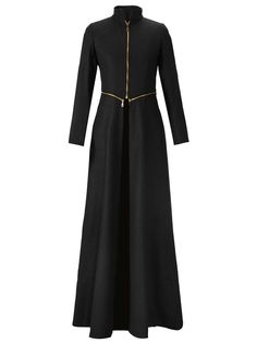 Stand Collar Zipper Maxi Black Coat