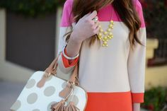 Mara of M Loves M working the colorblock trend with our Pretty Baubles Necklace!