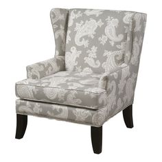 Arm chair with paisley upholstery and nailhead trim. Made in the USA.       Product: ChairConstruction Material: ...