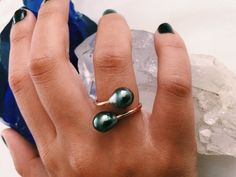 Double Tahitian Pearl Ring