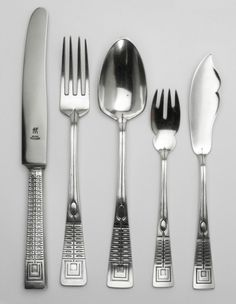 Peter Behrens, Cutlery for the Wertheim Department Store Berlin, 1901-02. Silberwarenfabrik Rückert. Stainless Steel, Silver and gilded silver.