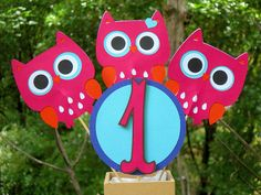 Little Ms Owl Table Decorations MADE TO by CelebrationPaperCo, $14.00