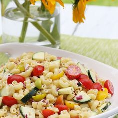 Summer Macaroni Salad with Tomatoes and Zucchini | Skinnytaste ...