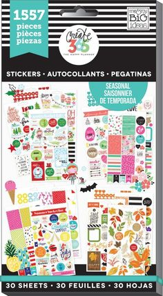 1,557 stickers… Did you catch that? One-thousand, five hundred and fifty seven SEASONAL stickers in ONE book! Helping you plan each season of the year! Over 1500 stickers include clouds, sunshine's, u