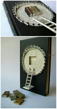 """Book Paper Art Sculpture - Altered Book - """"A Book"""" by Emily Dickingson"""