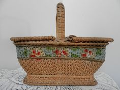 Antique French Sewing / Lace Basket. French by AngelFrenchAntiques