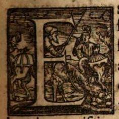 Lettrine guerrier et chevaux 1561/ Initial letter warrior and horse 1561