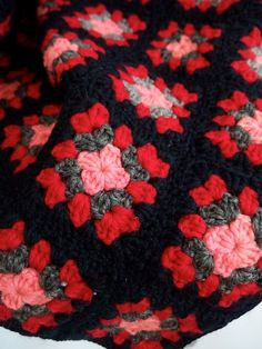 Granny Square Afghan Blanket Black Red Gray and by judeslore ...
