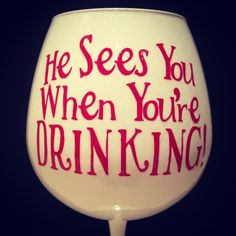 Christmas Wine Glass.  Uhm, love it.