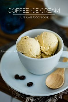 Coffee Ice Cream | Easy Japanese Recipes at JustOneCookbook.com | Quite a few steps to this recipe, including infusing the coffee for 1 hour. However, if that  will give this ice cream a stronger coffee flavor, it's well worth it.