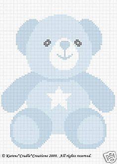 TEDDY GIRL BEAR Color Graph Baby Afghan Pattern *EASY