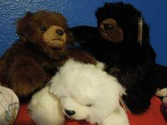 $9.99 Teddy bear LOVE set white brown black 3 cute wild soft sweet plush animals NEW!