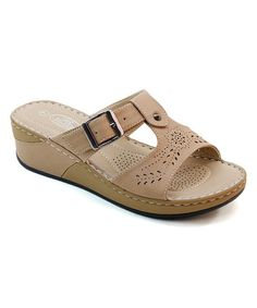A polished buckle ornaments this vacation-ready sandal, lifted by a plush and modest wedge heel. Flat Shoes, Flat Sandals, Wedge Heels, Women's Shoes, Ladies Shoes, 3d Design, Winter Collection, Birkenstock, Camel