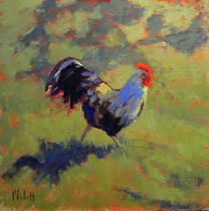 Heidi Malott Original Paintings: Rooster Chicken Paintings Contemporary Daily Art H...