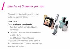 Place an order June 18-25 for $100 + at www.youravon.com/christinastrand and receive this 3-piece color bundle. Enjoy the summer savings!