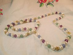 Extra Long Multi Colored Beaded Necklace by ChickenCoopVintage, $18.00