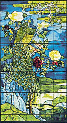 Scarlet Quince cross stitch chart: Peacocks and Peonies II (detail) - John La Farge