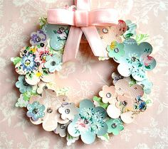Vintage Wallpaper Flower Wreath