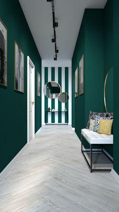 Nowoczesny przedpokój w zielonych barwach #hol #korytarz Entrance Hall, Corridor, Stairways, My Dream Home, Color Blocking, My Design, New Homes, Room Decor, Colours