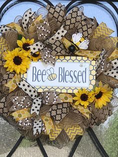 Sunflower wreath bee wreath blessed bee blessed summer