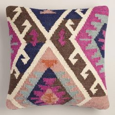 Pink Wool and Cotton Kilim Throw Pillow - v1